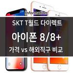 SKT T월드 아이폰8, 아이폰8플러스 구입 가격, 해외 직구 비교