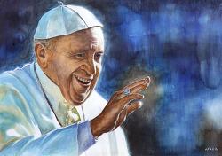[인물수채화 / 수강생 작] 프란치스코 교황(Pope Francisco) 의 초상