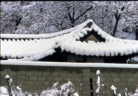 1968년 겨울 안양, 하얀 눈에 덮인 기와집