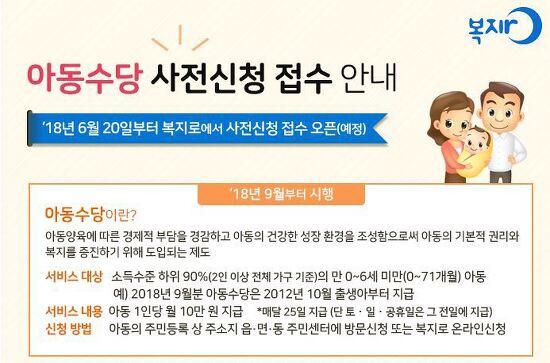 아동수당 신청 및 자격 조건_2018년 9월 부터 시행.