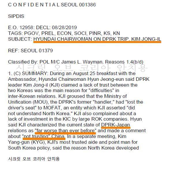 현정은 이명박정부 불만토로 위키리크스 비밀전문 안치용