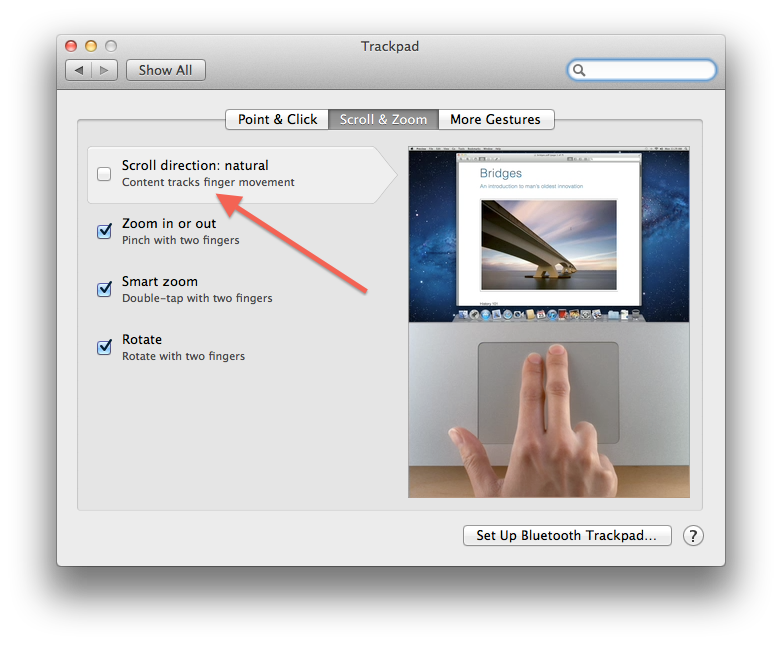 How to Deselect Natural Scroll Direction, on Mac OS X Lion