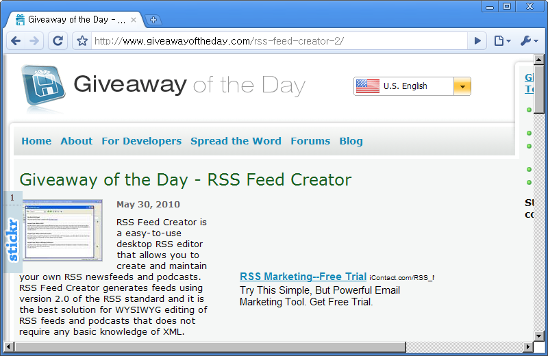 Giveaway of the Day 홈페이지 - 오늘은 RSS Feed Creator 프로그램이 공짜!