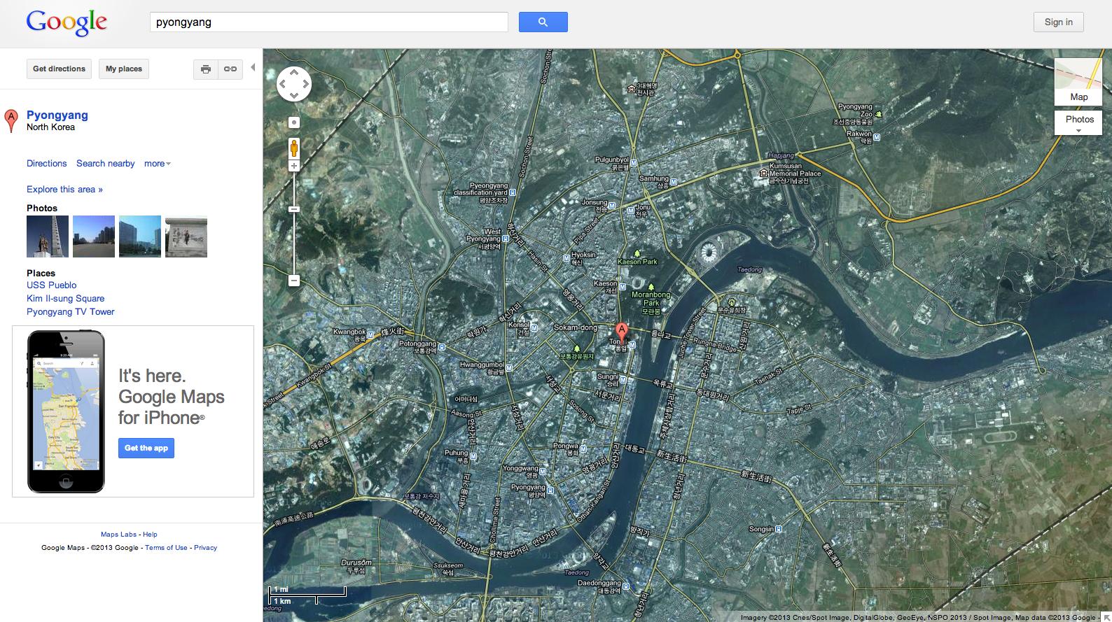 구글지도에서 확대가 가능해진 북한, 무엇을 의미하나?