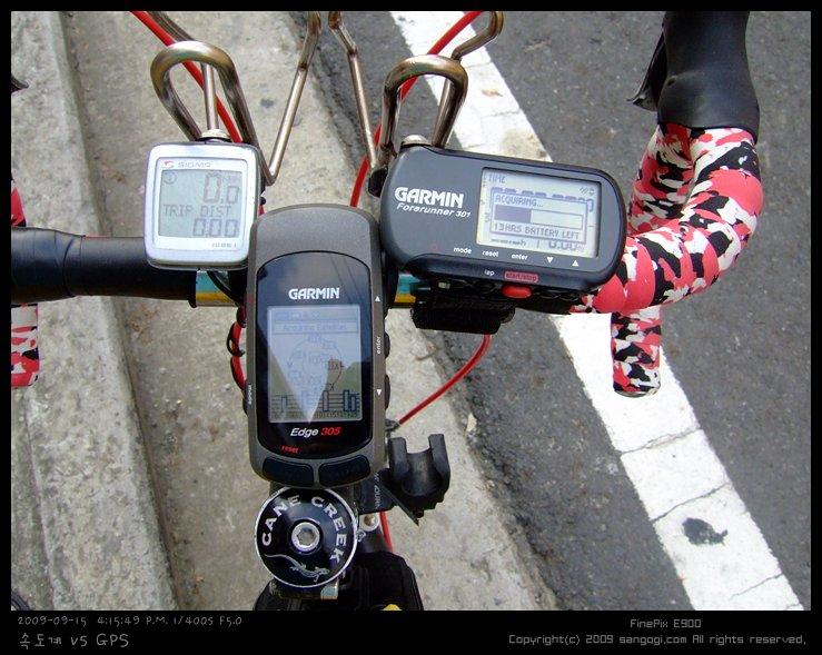 유선 속도계(시그마 BC1606L)와 GPS(Edge 305, 포어러너 301)
