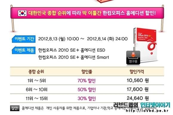 한컴오피스 2010 SE + 홈에디션 70% 할인 판매