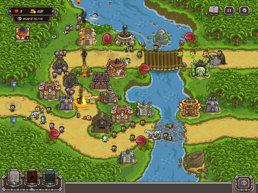 Kingdom Rush Frontier jungle map. Карта джунглей
