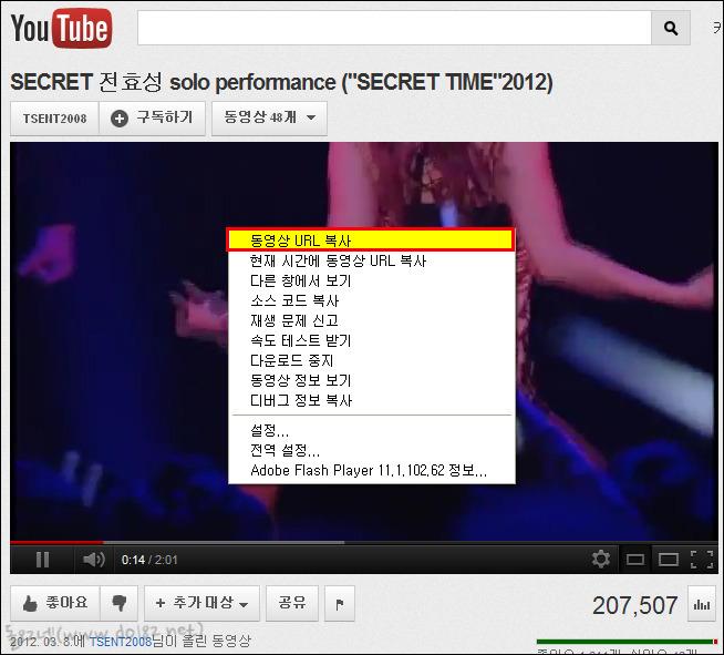 유튜브 동영상 복사-전효성