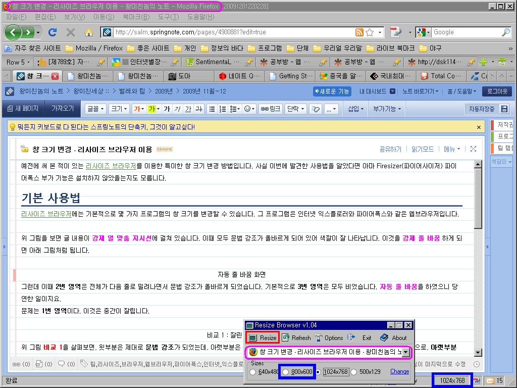 리사이즈 브라우저를 이용하여 1024x768 크기로 바뀐 파이어폭스 창