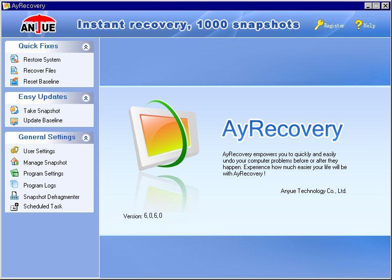 설치한 뒤 첫 실행 화면 - 고급 모드(AyRecovery Advanced)