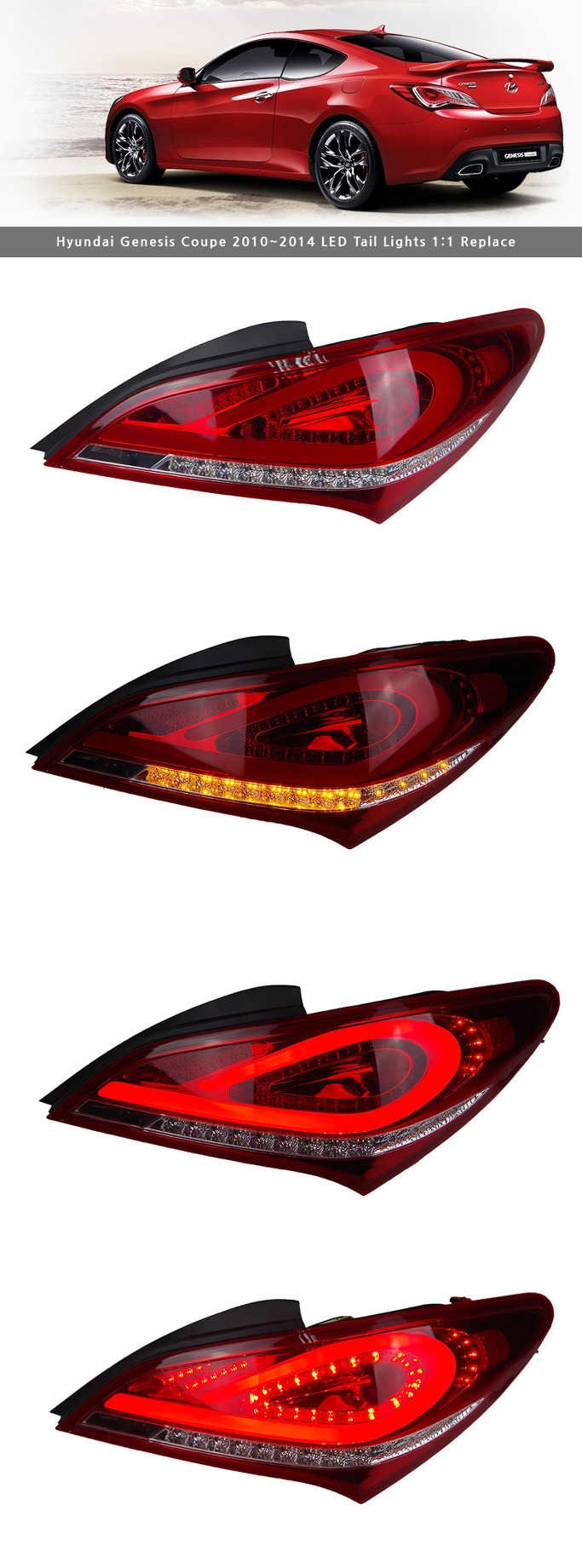 led tail lights rear lamp 1 1 replacement for hyundai genesis coupe 2009 2015 ebay. Black Bedroom Furniture Sets. Home Design Ideas