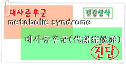 대사증후군(metabolic syndrome)과 진단
