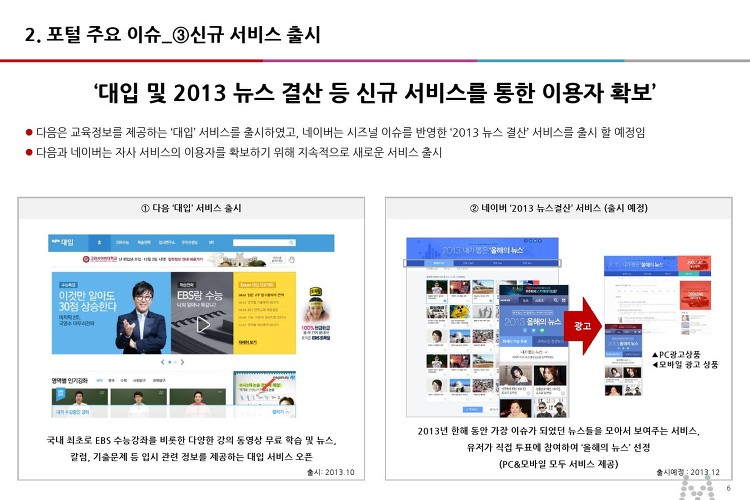'대입 및 2013 뉴스 결산 등 신규 서비스를 통한 이용자 확보
