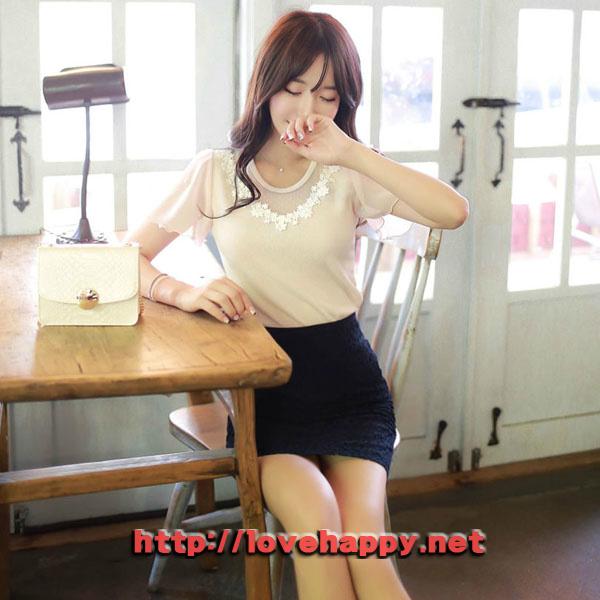 여성패션 티셔츠 넥라인 플라워 레이스 006