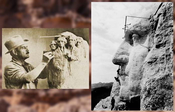 사진: 대통령상을 조각한 버글럼과 조각 당시의 모습 사진. 러시모어산의 유래는 미국의 서부 개척사이며 서부 침략사이다. [러시모어 산의 대통령 조각]