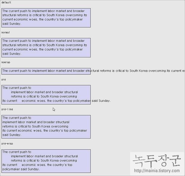 스타일 시트 CSS 공백 문자, 빈칸, 줄 바꿈 처리를 위한 white-space 속성 사용하기