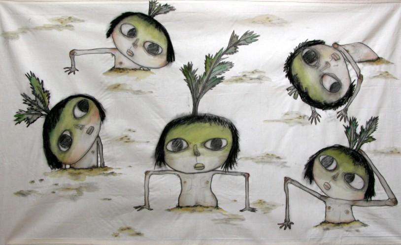 나를 무라고 부르지마 _ conte and acrylic on cloth _ 126×75 _ 2006