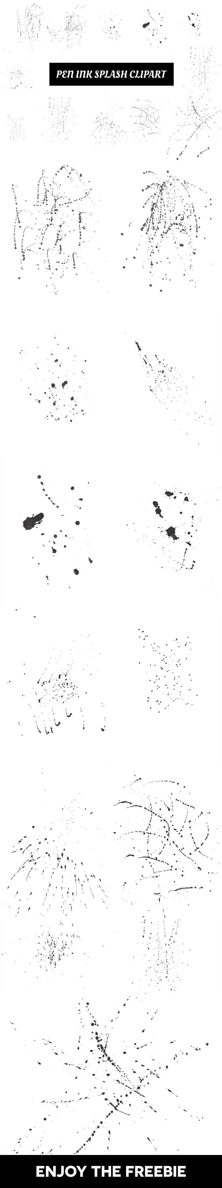 12 가지 무료 포토샵 펜 잉크 스플래쉬 브러쉬 & 텍스쳐 - 12 Free Photoshop Pen Ink Splash Brushes & Textures