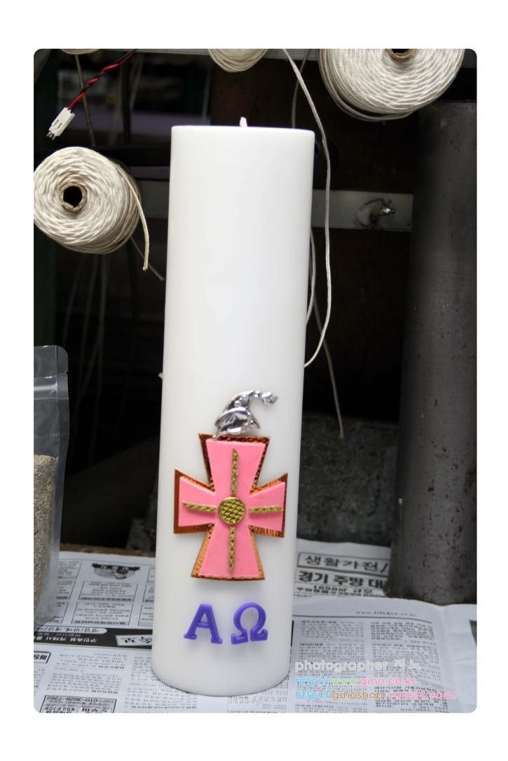 성월초 십자가 금박 장식 왁스 캔들 양초