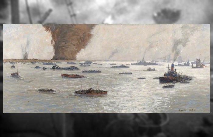 사진: 군함뿐 아니라 어선, 요트 등 민간인의 도움으로 900여 척이 덩케르크 철수 작전을 위해 달려 왔다. 이 그림은 덩케르크 작전을 묘사한 그림이다. [덩케르크 실화, 다이나모 작전]