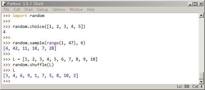 파이썬 랜덤 모듈 choice, sample, shuffle 함수