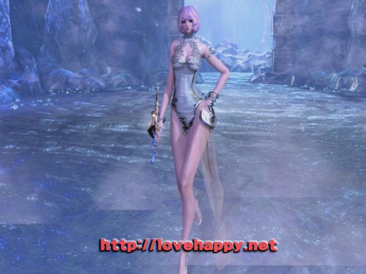 블레이드앤소울 의상 - 다리가 이쁜 하얀달. 차이나 드레스 의상 005