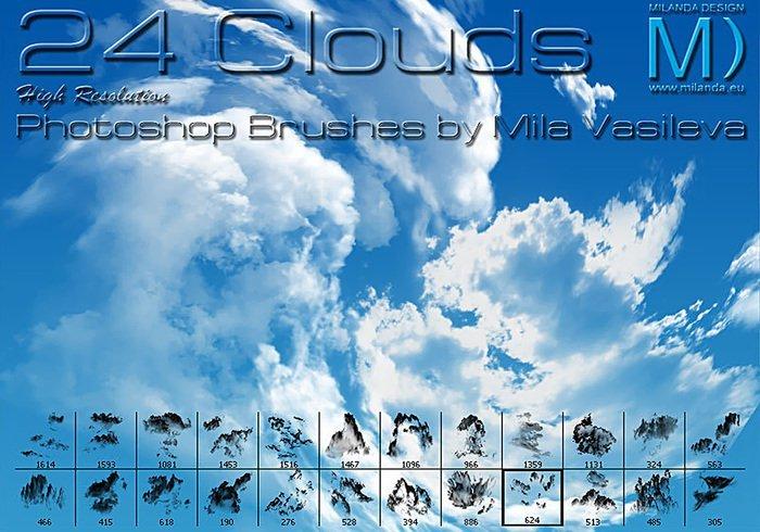 24 가지 구름(clouds) 포토샵 브러쉬 - 24 Free High-Resolution Clouds Photoshop Brushes