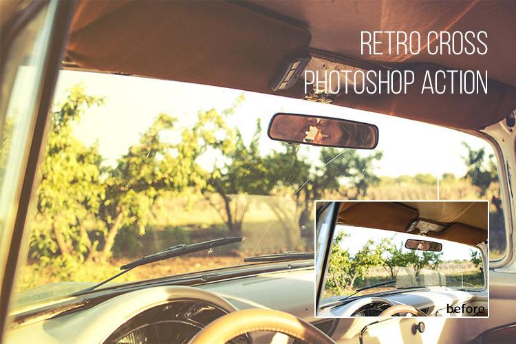 레트로(retro) 포토샵 액션 - Free Retro Cross Photoshop Action