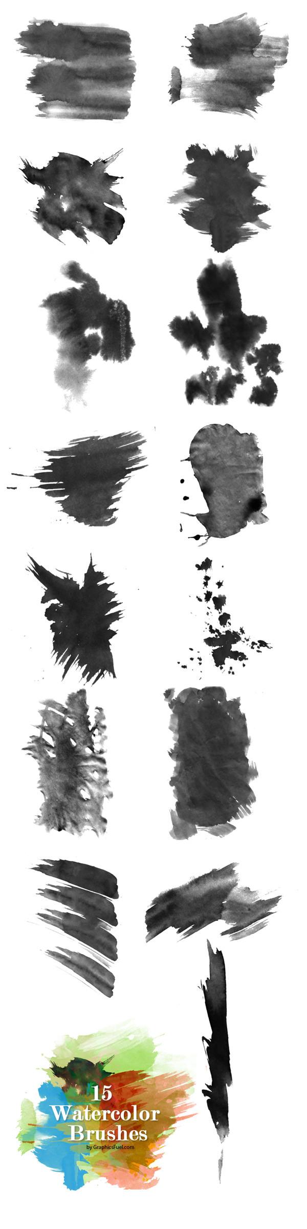 15 가지 무료 포토샵 수채화 브러쉬 - 15 Free Watercolor Brushes