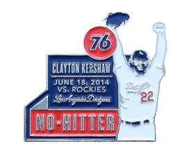 Clayton Kershaw No-Hitter Commemorative Pin ++