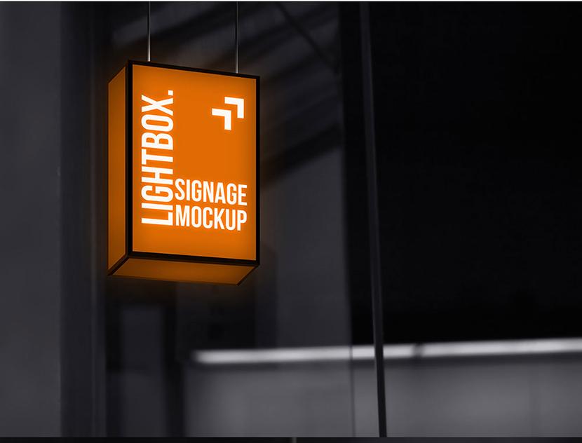 라이트박스 간판 목업 Hanging Lightbox Signage Mockup