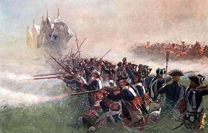 사진: 유럽에서의 콜린 전투. 프로이센은 영국의 지원을 받아 오스트리아, 프랑스 등과 전쟁을 벌였고, 이것을 7년 전쟁이라고 한다. [프렌치-인디언 전쟁과 7년 전쟁]