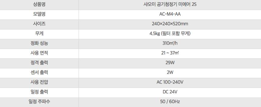 샤오미 공기청정기 미에어 2S