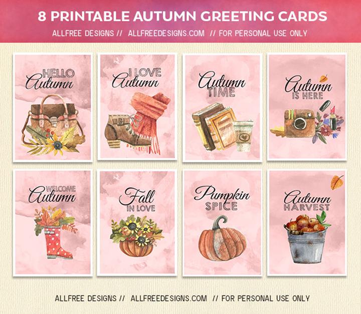 파스텔 수채화 스타일 고화질 가을 인사말 카드 모음