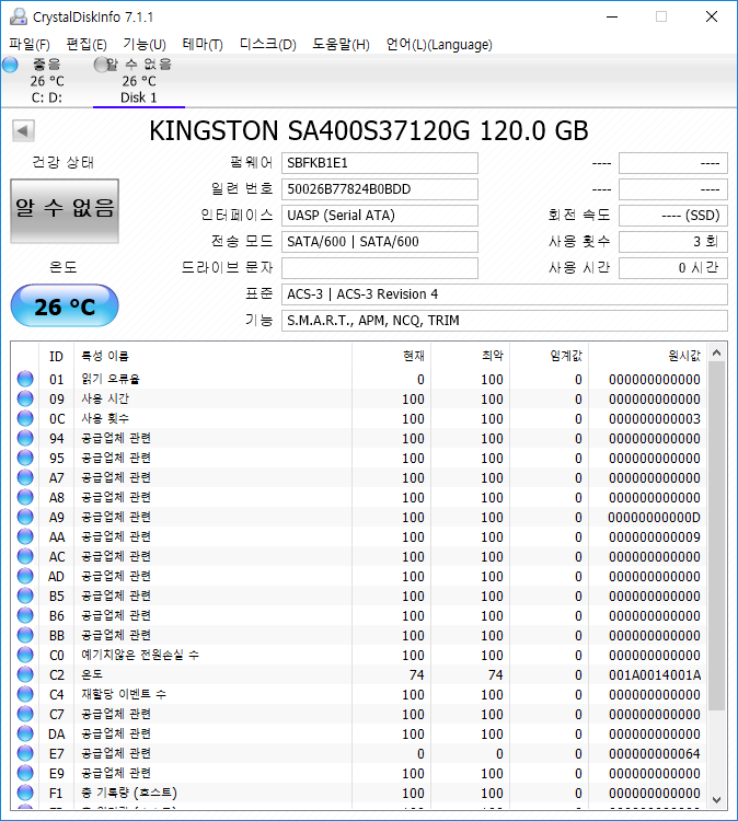 Kingston SSDNow A400 120GB CrystalDiskInfo