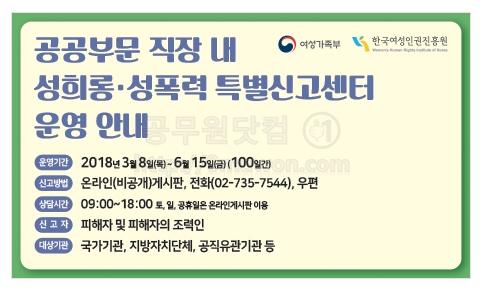 성희롱 성폭력 특별신고센터 운영