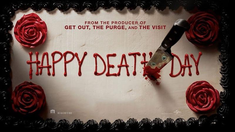 사진: 영화 해피데스데이의 포스터. 칼을 잘 보면 가면이 얼핏 보인다. 포스터 디자인이 생일 케이크다. [해피데스데이 줄거리 후기]