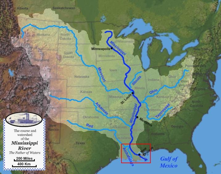 미국의 1/3을 차지하는 미시시피강 유역